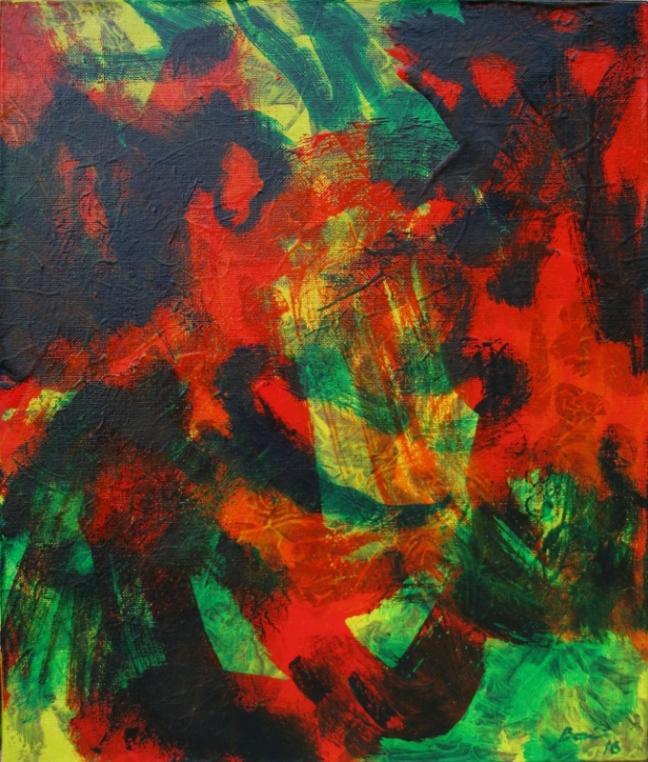 Foule-faune, 2016, huile sur toile, 46 X 38 cm